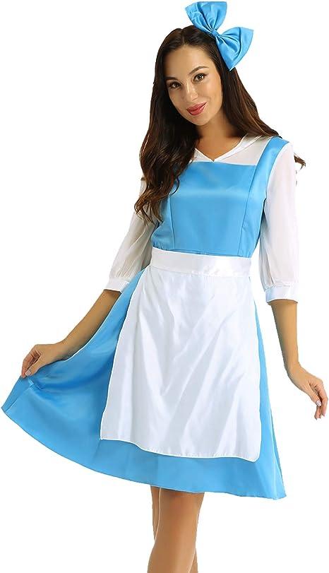 YiZYiF Disfraz Bella y Bestia Mujer Vestido Princesa Azul Chica ...
