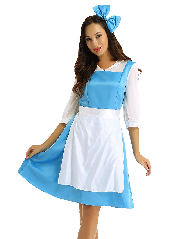 YiZYiF Disfraz Bella y Bestia Mujer Vestido Princesa Azul ...