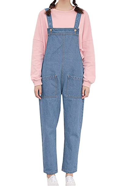 new concept 42b05 6b21b DaBag Donna Salopette Jeans Ragazza Lunga Pantalone Casual Elegante Pants  Moda Tasche Tinta Unita Larghi Autunno Primavera