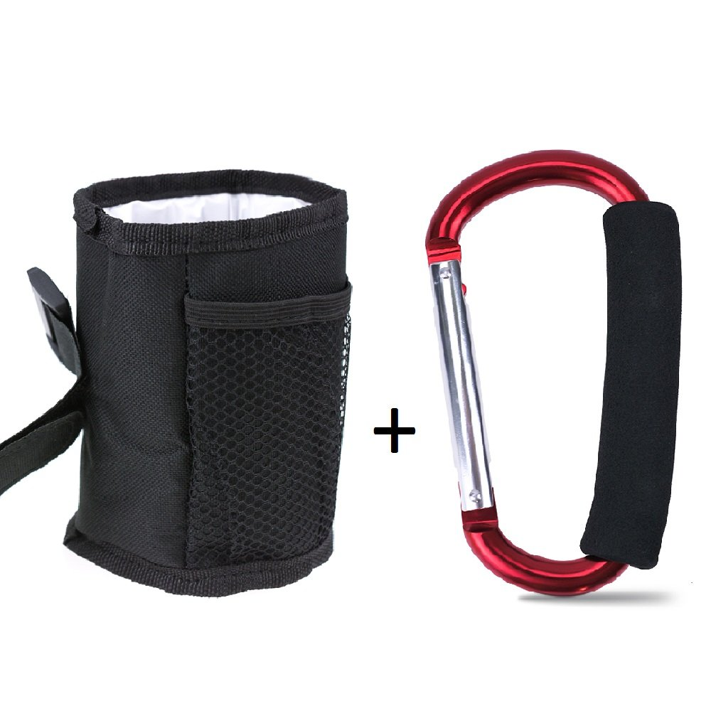 Topwon Universal Drinking Cup Holder,Drink Walker Cup Holder,Bottle Holder,Adjustable for Strollers, Walkers, Bicycles, Wheelchairs + X-Large Stroller Organizer Hook