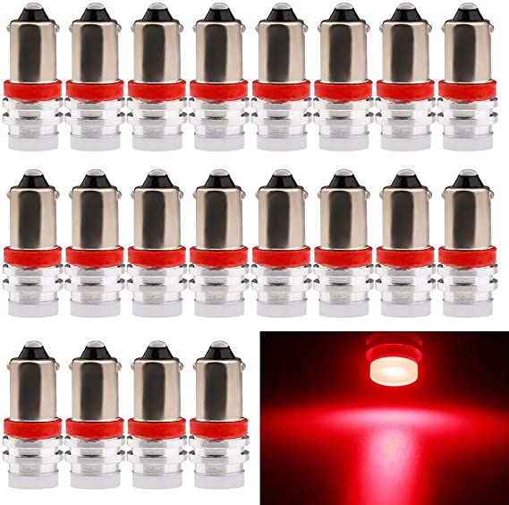 EverBright 20-Pack Red BA9 BA9S 53 57 1895 64111 T4W Aluminum SMD 1W LED Replacement for Car License Plate Light Bulb Side Door Courtesy Door Lamp Interior Map Lights DC12V