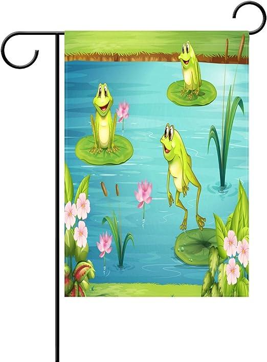 wozo tres ranas bandera de Jardín Agua Lily Floral poliéster bandera al aire libre casa fiesta: Amazon.es: Jardín
