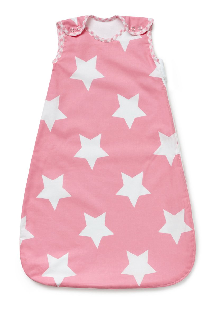 Baby Sleeping Bag, Pink with White Stars, 2.5 Tog (0-6 months) Pixie and Jack