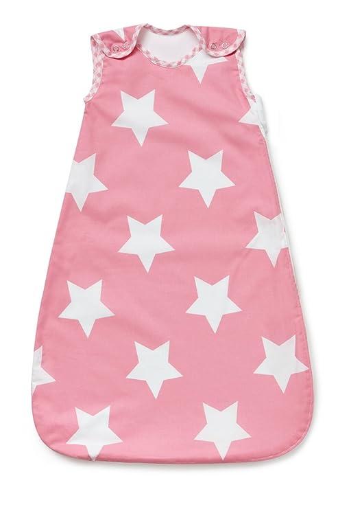 Saco de dormir para bebé, color rosa con estrellas blancas, tog 2,