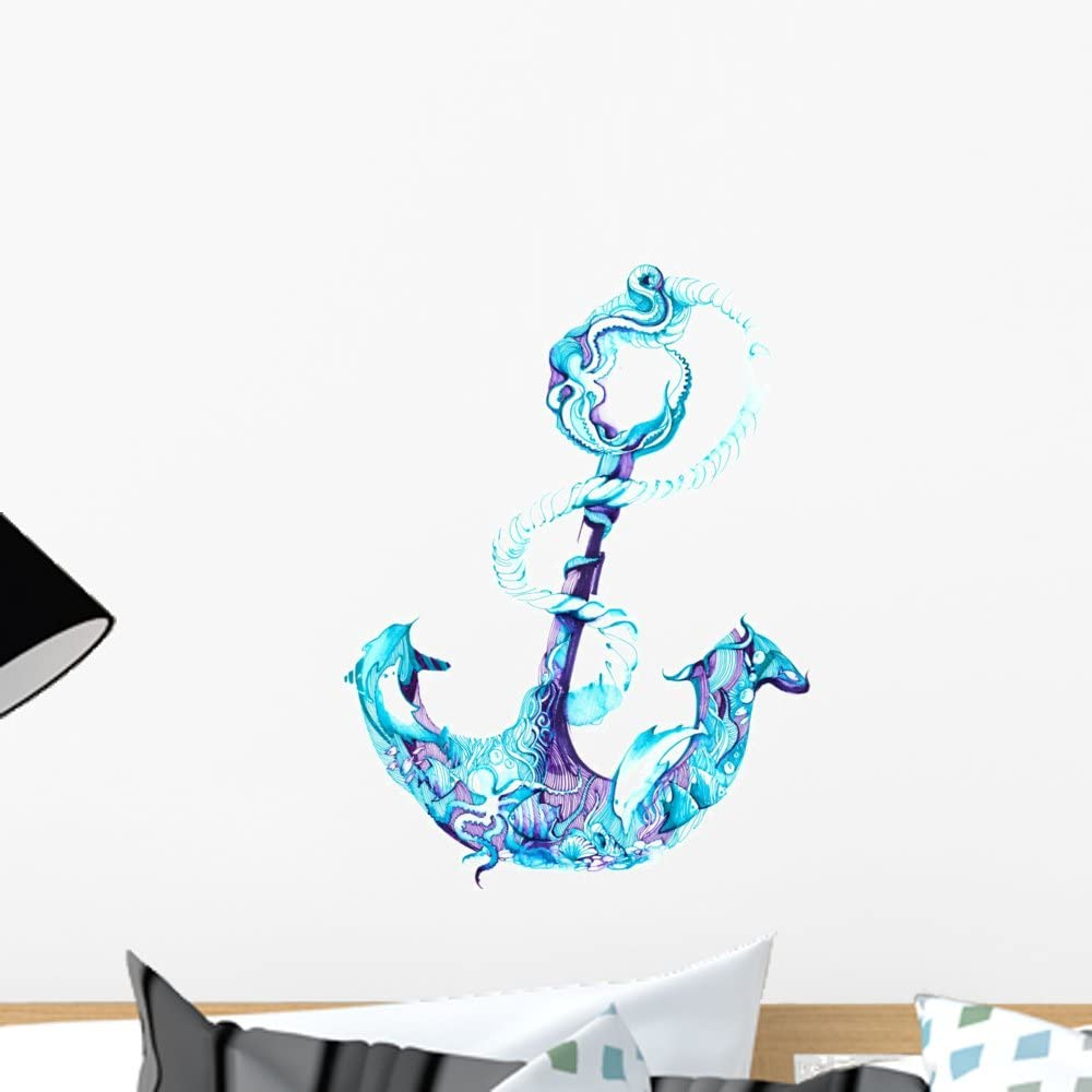 Wallmonkeys Costal Anchor Watercolor Blue Wall Decal Peel and Stick Graphic (18 in H x 13 in W) WM368601