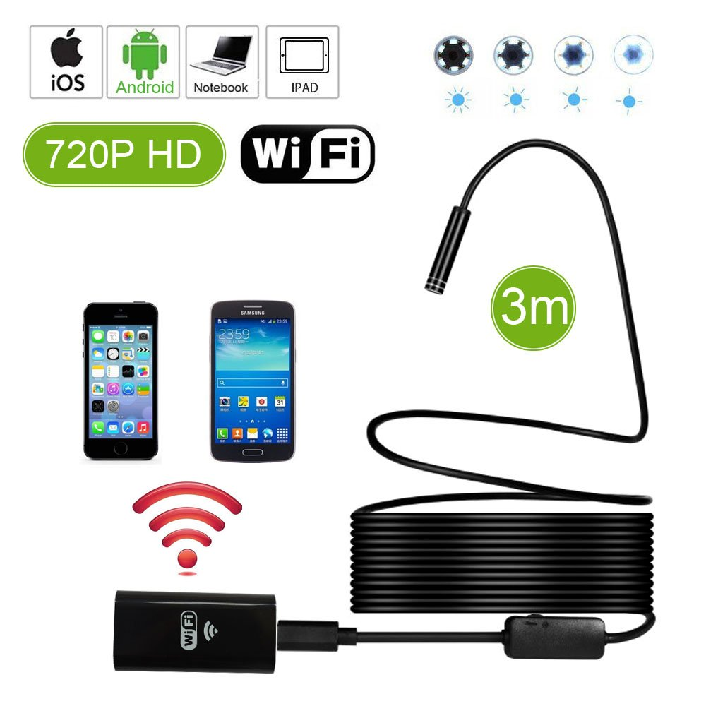 Waterproof Flexible Wireless Endoscope WiFi Borescope Inspection Camera 2.0 Megapixels for Android and iOS Smartphone, iPhone, Samsung, iPad (3M)