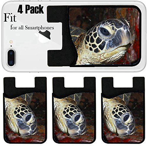 Liili Phone Card holder sleeve/wallet for iPhone Samsung Android and all smartphones with removable microfiber screen cleaner Silicone card Caddy(4 Pack) IMAGE ID: 10793526 Hawaiian Green Sea Turtle by Liili
