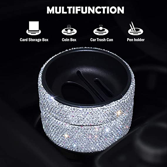 Bling Car Air Vent Organizer Box,MoreChioce Bling Rhinestone Garbage Can Portable Hanging Car Trash Can Universal Organizer Pocket for Mobile Phone Coin Card,Pink