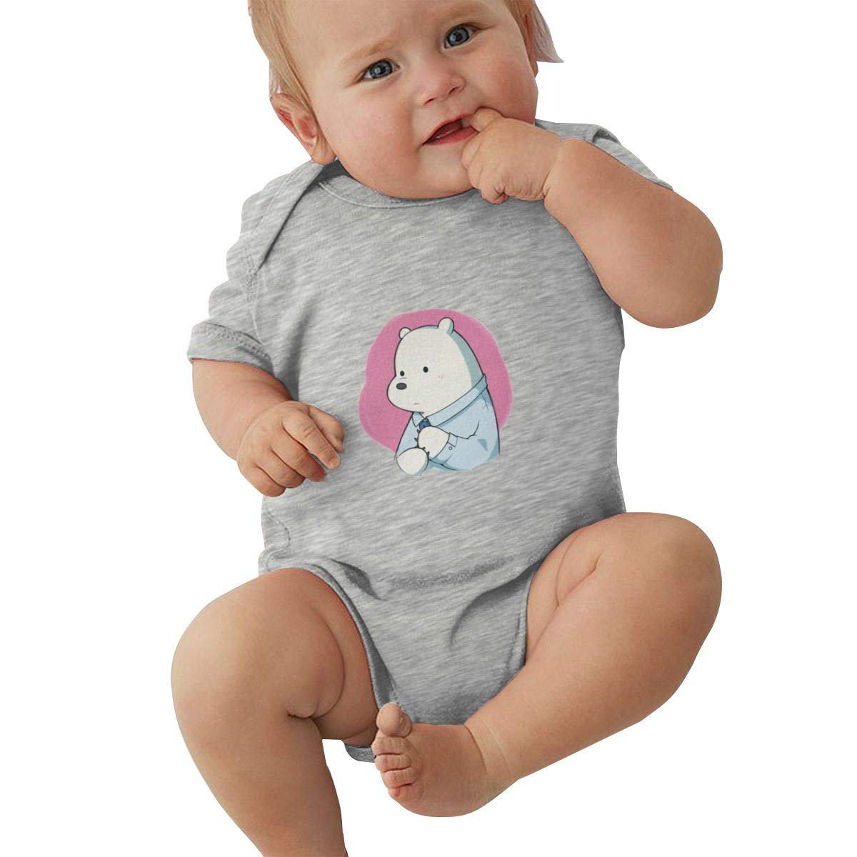 KunYuHeng Unisex Baby Round Neck Short-Sleeve Romper We Bare Bears Funny Jumpsuits Sleepwear Black