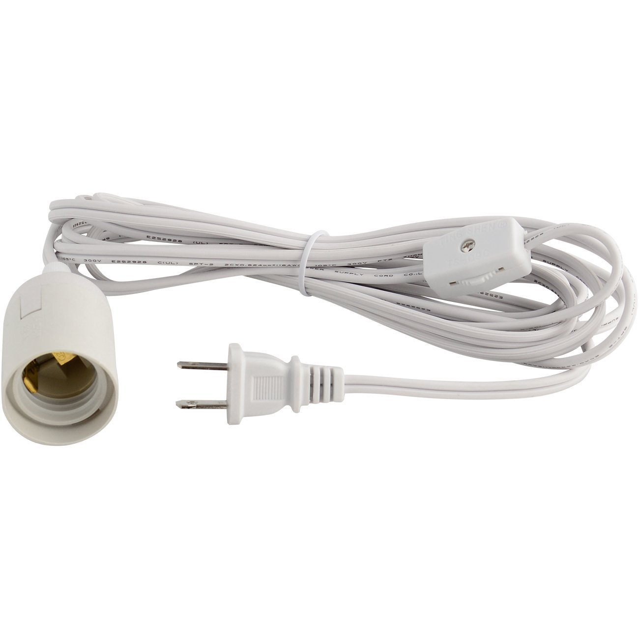 YiLighting - UL-Listed 12feet Hanging Light Socket Extension cord with E12 Candelabra Socket - 2-Prong US AC Power Plugs For Hanging Lantern Plant Growth lights (2, Gear Switch)