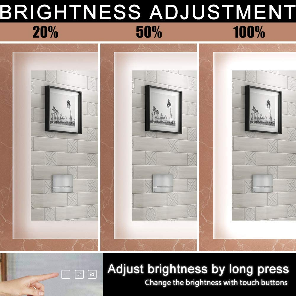 HAUSCHEN 24x48 inch LED Bathroom Wall Mounted Mirror with High Lumen+CRI 95 Adjustable Color Temperature+Anti Fog+Dimmer Function+IP44 Waterproof+Vertical /& Horizontal