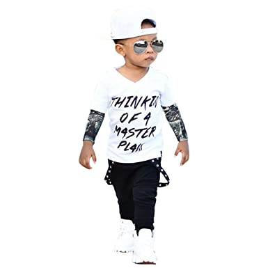 169bb0e12 Amazon.com  2PCS Baby Boys Letter Tattoo T shirt Tops Pants