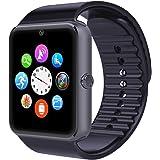 Montre Connectée,Willful Bluetooth Smartwatch Montre Sport Carte Sim de Soutien et Carte de TF Caméra avec Podomètre,Sommeil,Calories pour Samsung Sony Huawei Android pour Femme Homme Enfant Noir