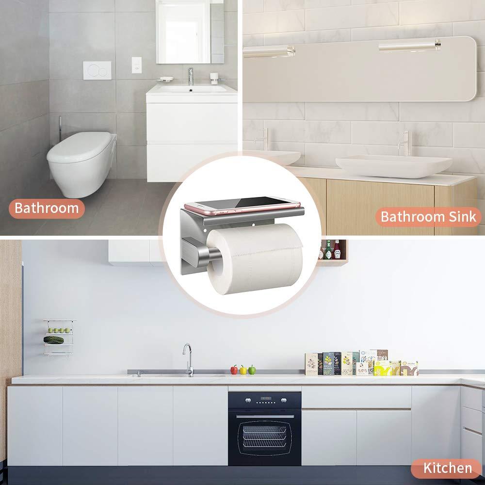 Selbstklebend Toilettenpapierhalter, Sunvito Toilettenpapierrollenhalter Ohne Bohren Klopapierhalter Zur Wandmontage, für Badzimmer, Küche (SUS304 Edelstahl)
