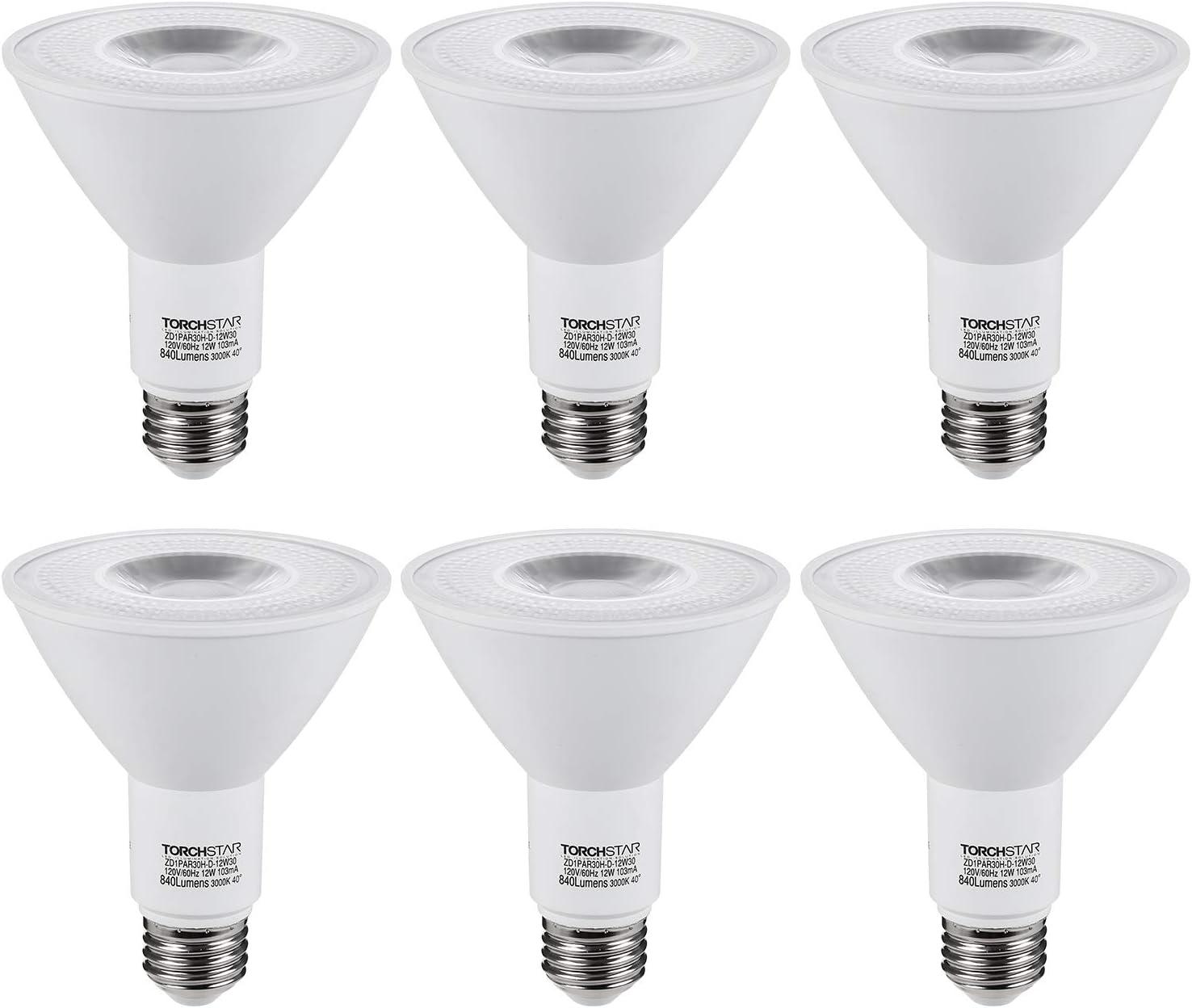TORCHSTAR PAR30 Dimmable LED Spotlight Bulbs, Long Neck, CRI90+, 12W (75W Eqv.), UL & Energy Star Listed, E26 Standard Base, 840Lm, 3000K Warm White, for Recessed Trim Lighting, Track Light, Pack of 6