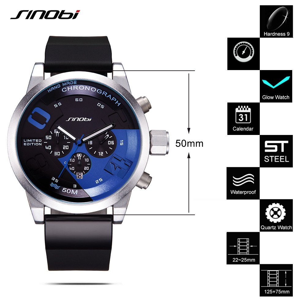 Amazon.com: SINOBI Chronograph Watches for Strong Men 5bar Waterproof Outdoor Sports Wristwatch Silicone Strap Clock: Watches