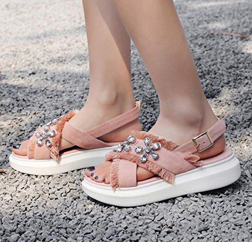Las Zapatos Casual Abierta de de Plano Tacón al Zapatos Moda Rhinestones Zapatos Sandalias Hebilla Aire Verano Rosado ZXMXY Mujeres Punta Libre de de al Aire Libre Sandalias de qwxavE