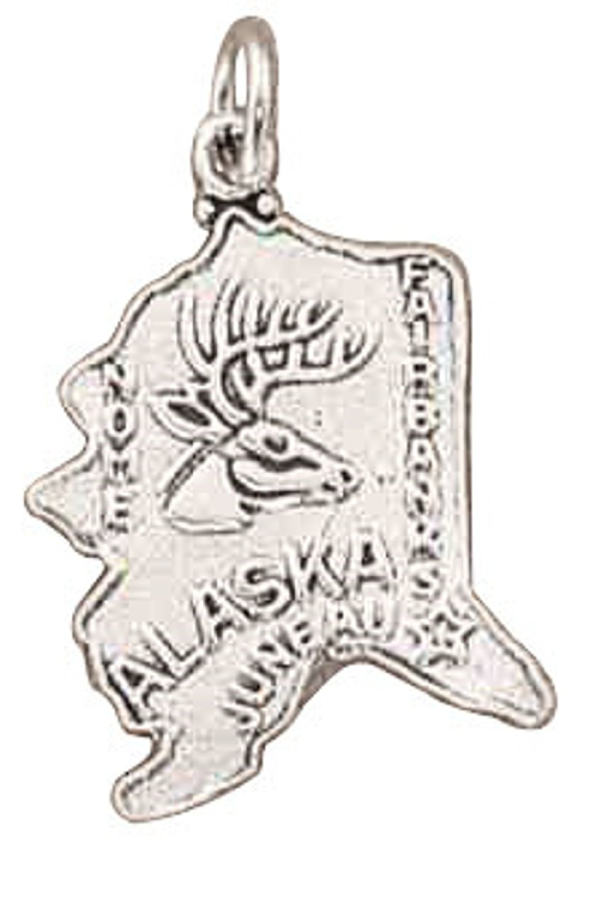 Sterling Silver ALASKA State Map Outline Word Charm