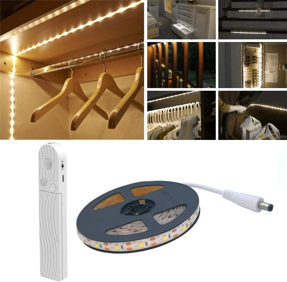 Luz de armario para sensor de movimiento,2M 120 LED 6500K Tira de LED blanca, USB o con batería, Armario, Debajo del gabinete, Escaleras, Cajón, Alumbrado nocturno de la cama