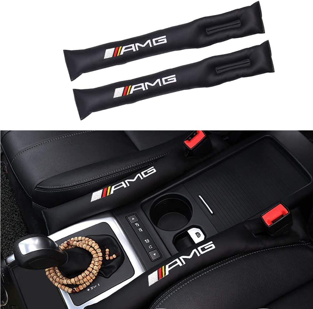 2pcs Faux Leather Embroidery Label Car Seat Crevice Gap Filler Slot Plug Cover Pad For Benz 16 models 17 models E200L E300L New E class Universal Fit AMG Sport Tech Power and other vehicles Black