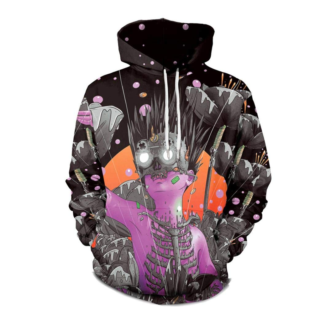 UONQD Lovers Sweater Punk 3D Print Party Pullover Blouse Hoodie Sweatshirt (Large,Black)