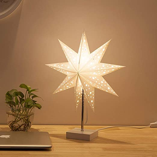Lámpara de mesa Nordic Creative Paper Star Minimalista E14 Luz de ...