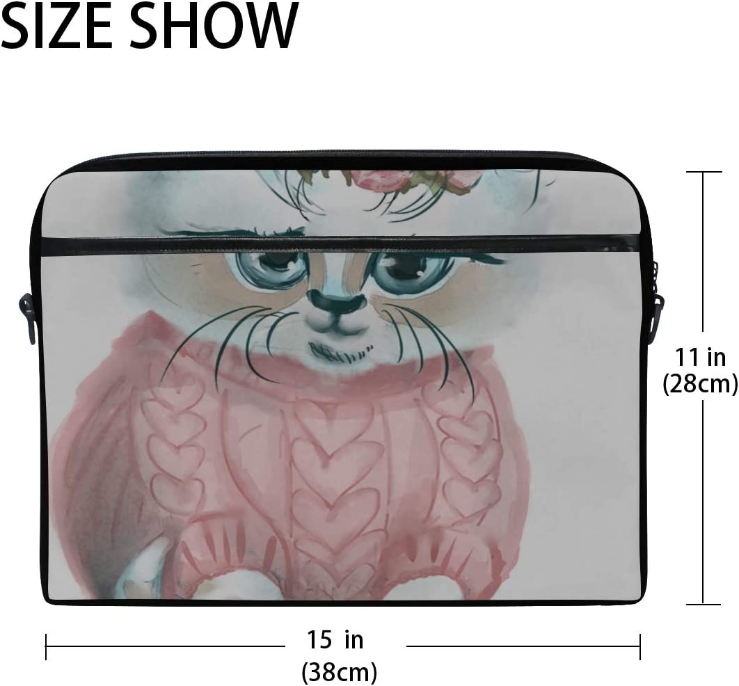 Briefcase Messenger Shoulder Bag for Men Women Laptop Bag Wreath Rose On Cute White Kitty 15-15.4 Inch Laptop Case College Students Business People
