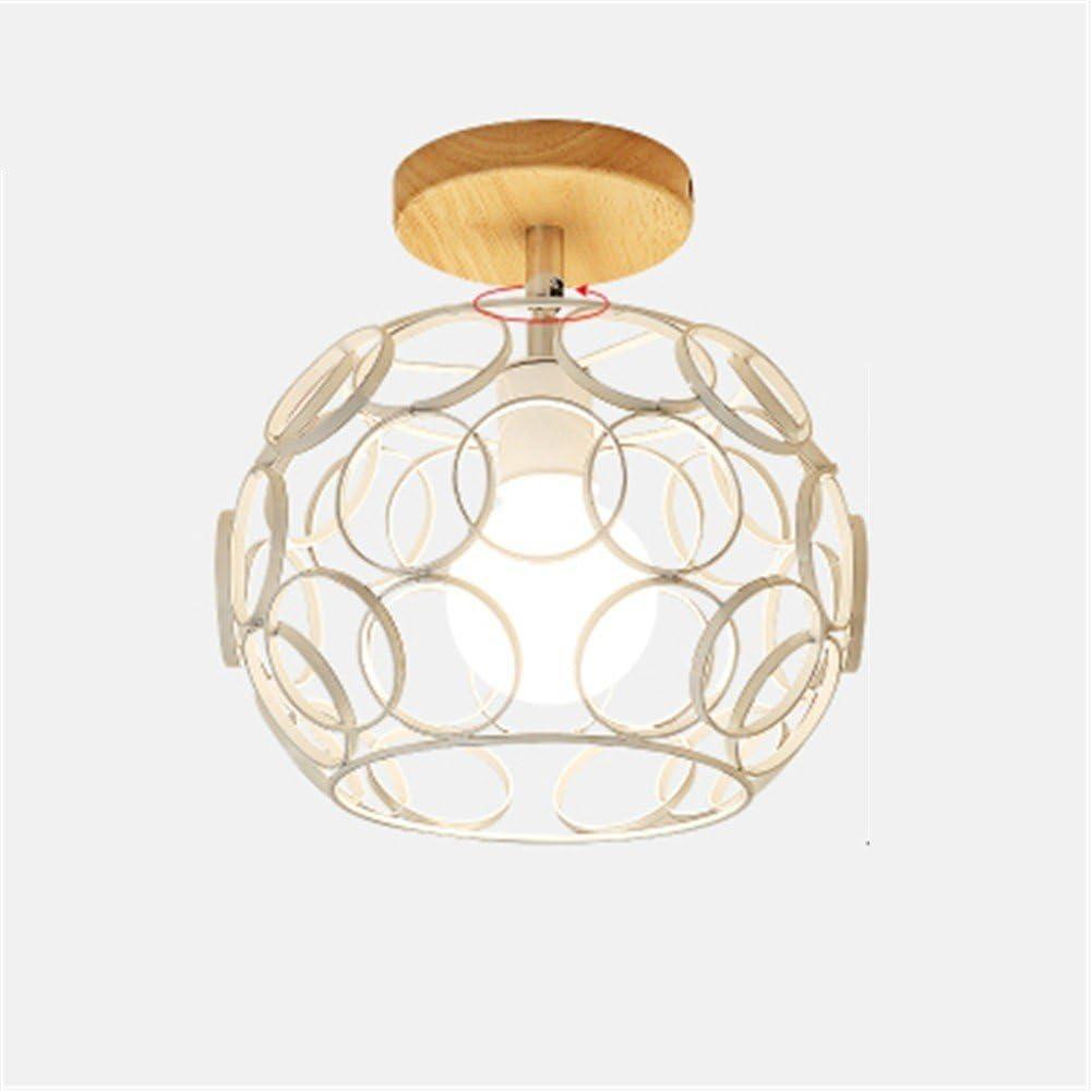 QIYUEQI Arte & Hierro araña de cristal techo corredores luz acogedora terraza Retro Caja de bolas de luz blanca puede girarse & Iron Art Glass White Collar 25 * 25 lámpara de techo