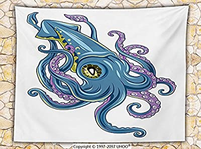 Kraken Decor Fleece Throw Blanket Mythical Squid Swimming Tentacles Cuttlefish Fin Marine Life Graphic Print Throw Blue Purple