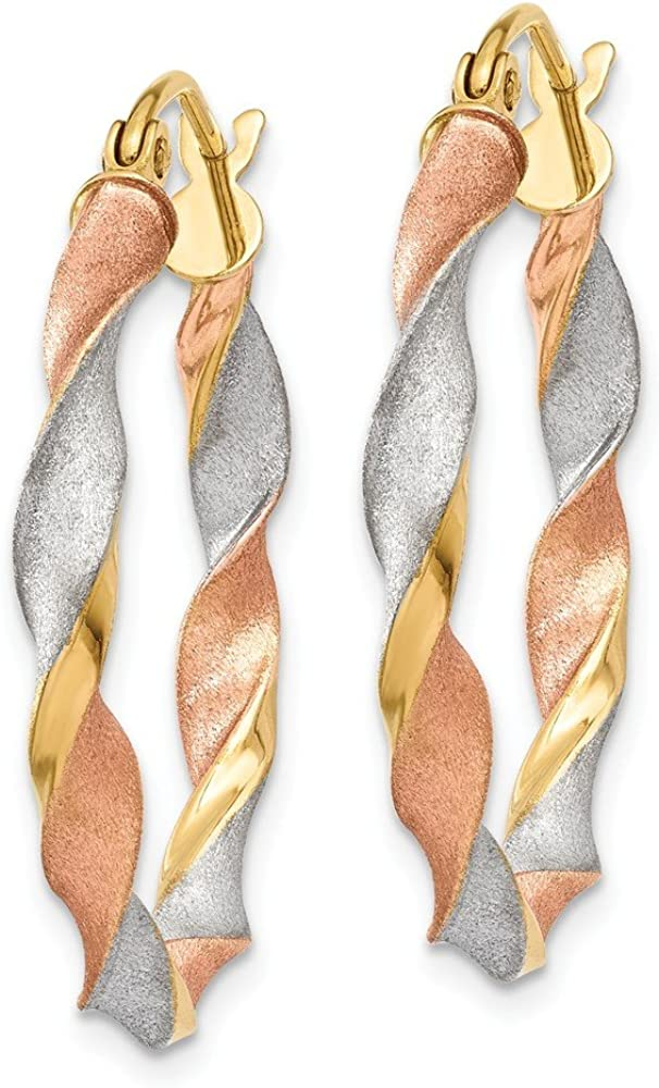 14kt White /& Rose Rhodium Satin Twisted Hoop Earrings