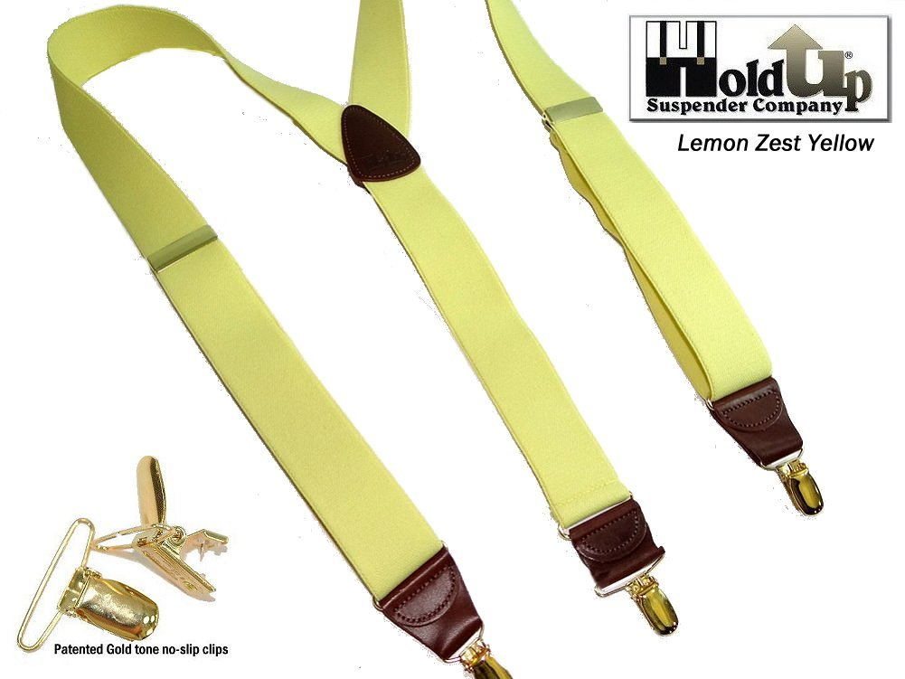 Hold-Ups Lemon Yellow Suspenders 1 1/2'' wide in Y-back with No-slip Gold Clips by Hold-Up Suspender Co. (Image #4)