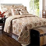 3pc French Country Ivory Brown Quilt Full Queen Set, Vintage Bedding Floral Pattern Medallions Yellow Rust Red Lightweight Oversized Width Classic Bohemian Beige Summer, Cotton