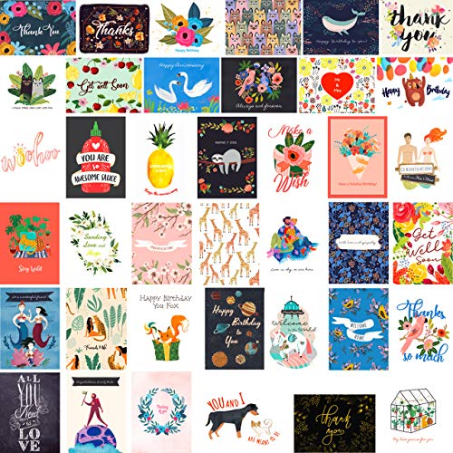 40 Greeting Cards Assortment with Envelopes - Birthday Cards Thank You Cards Wedding Cards Sympathy Cards Anniversary ()