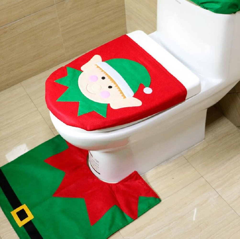 Cheap4uk 1 Set 3pcs Christmas Decoration Toilet Seat Cover & Rug & Radiator Cap With Tissue Box Cover Set Gift for Christmas Bathroom Decorations(Elk) Others