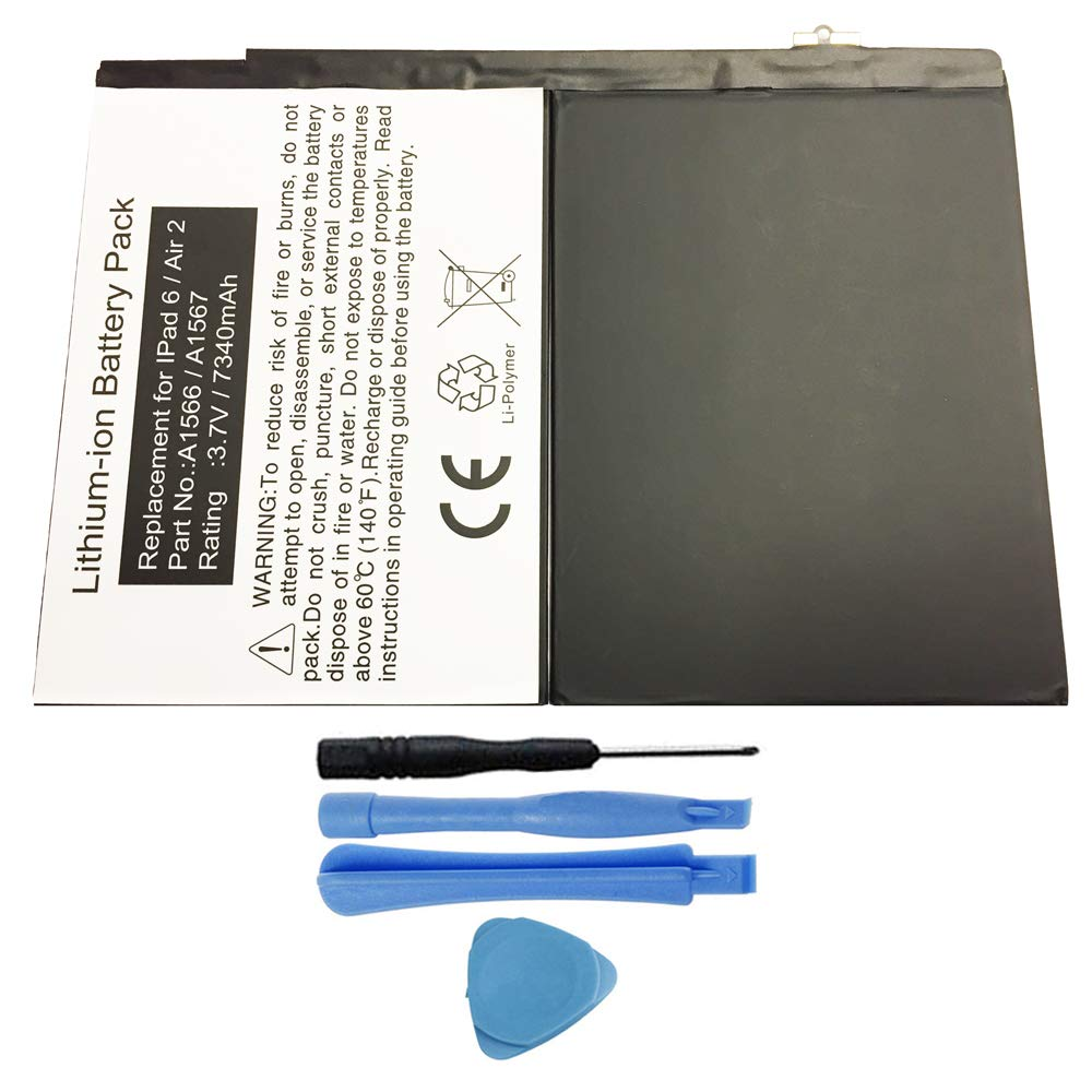 MPF Products 7340mAh A1547 Battery Replacement Compatible with Apple iPad Air 2 A1566, iPad Air 2 A1567, iPad 6 (6th Generation) with Installation Tools