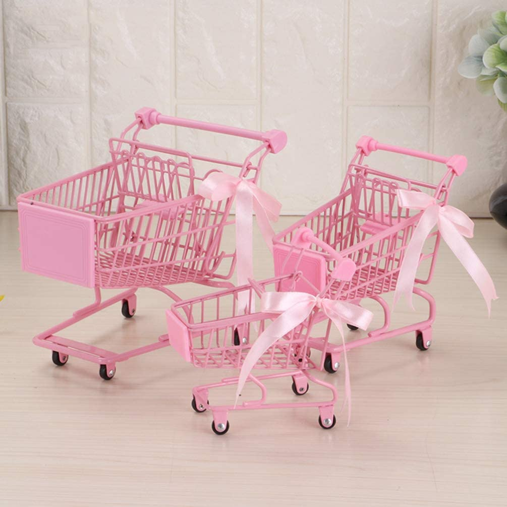Size L TOPBATHY Mini Shopping Trolley Handcart Toy Carts Plastic Funny Cute Birthday Cake Ornaments for Girl Party