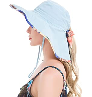 d929662d11c21f Lenikis Women's UPF50+ Sun Hat Wide Brimmed UV Protection Flap Hat with  Ponytail Hole