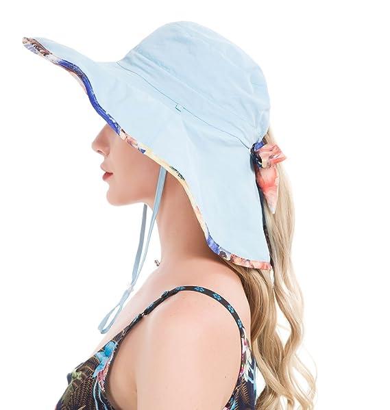 04c73a5da4175 Lenikis Women s UPF50+ Sun Hat Wide Brimmed UV Protection Flap Hat with  Ponytail Hole Blue