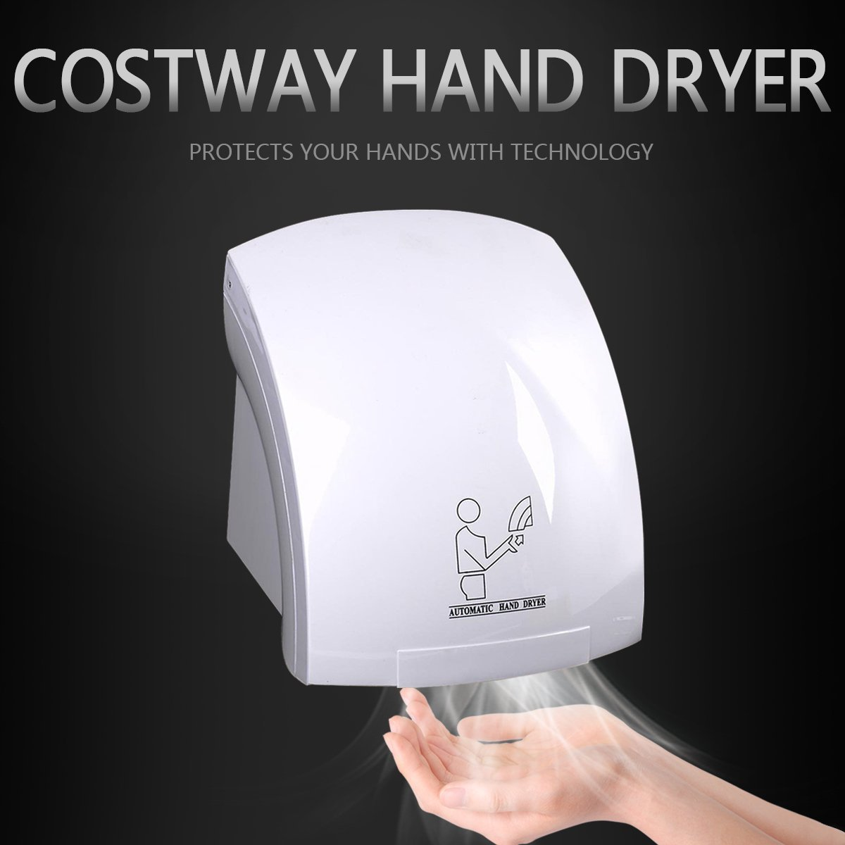 Costway Hand Dryer Wall Mounted Fast Electric Automatic Warm Air Drier Heavy Duty Toilet White