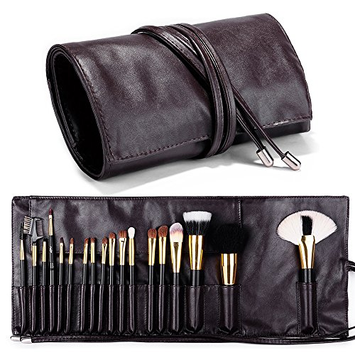 Makeup Brush Rolling Case Pouch Holder Cosmetic Bag Organizer Travel Portable 18 Pockets Cosmetics Brushes Leather Case BROWN Color