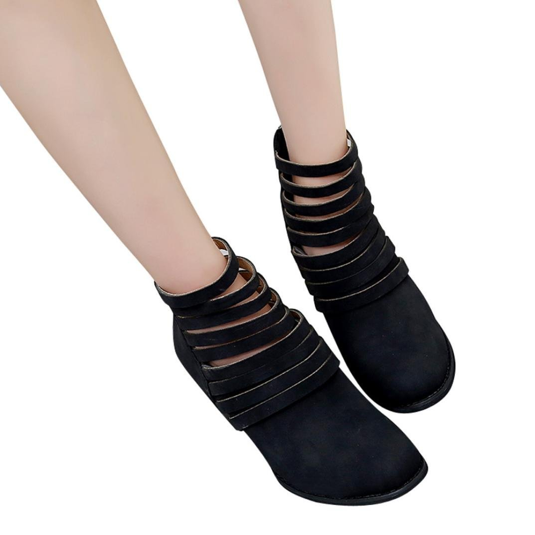 Hemlock High Heel Ankle Boots, Womens Ladies Wedge Shoes Sandals Boots Martin Boots Party Dress Martens (Black-1, US:9)