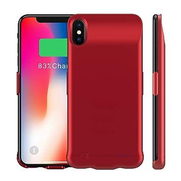 Happon Funda Bateria iPhone XS MAX, 6200mAh Batería Cargador Externa Ultra Carcasa Batería Recargable Power Bank Portatil para iPhone XS MAX - Rojo