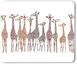 Moslion Giraffes Mouse Pad Animal Cute Wild Cartoon Africa Safari Tall Group Crowded Spot Zoo Gaming Mouse Mat Non-Slip Rubber Base Thick Mousepad for Laptop Computer PC 9.5x7.9 Inch