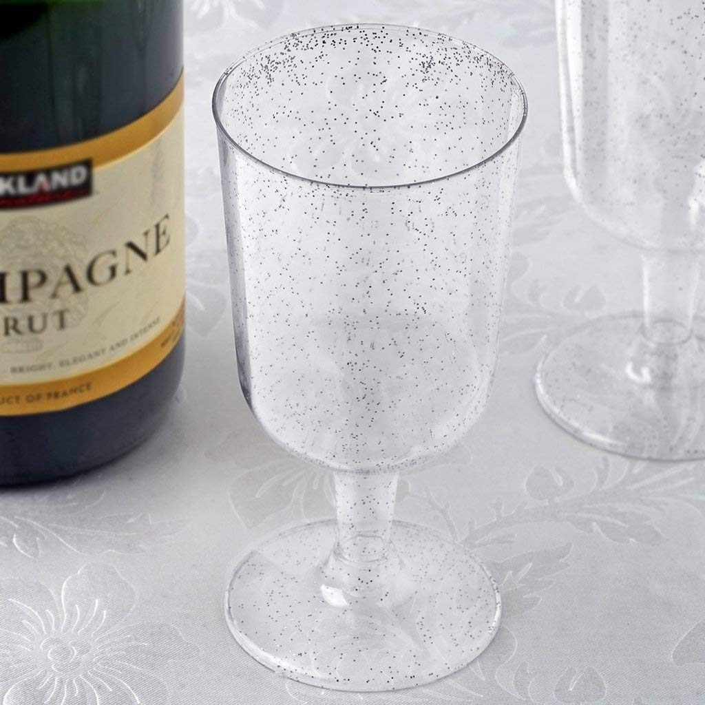 Efavormart 60 Pack 7.2 oz Silver Glittered Clear Champagne Cocktail Disposable Plastic Glass by Efavormart.com
