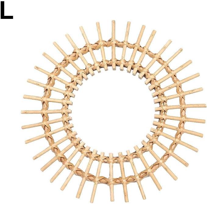 Ardorman Miroir Rond dart de rotin miroirs de Salle de Bains de d/écoration dart innovateurs contemporains en m/étal accrochants de Miroir de Salle de Bains de Miroir de Maquillage accrochants pour