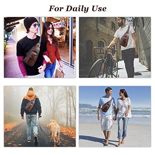 Sling Bag, Charminer Leather Chest Bag Crossbody Shoulder Business Backpack Outdoor Daypack