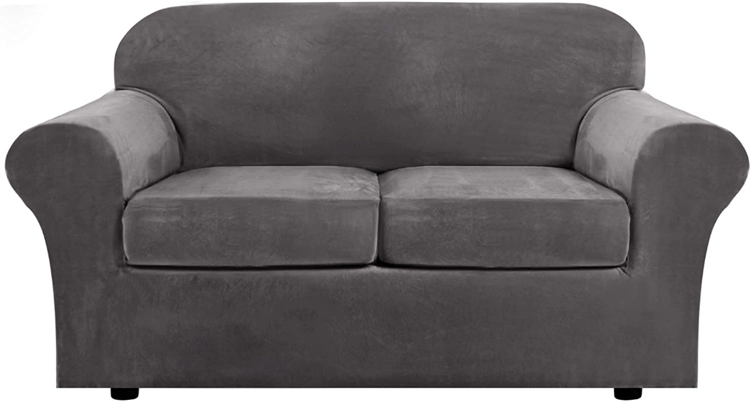 H.VERSAILTEX Real Velvet Plush 3 Piece Stretch Sofa Cover Velvet-Sofa Slipcover Loveseat Cover Furniture Protector Couch Soft Loveseat Slipcover for 2 Cushion Couch with Elastic Bottom(Loveseat,Gray)