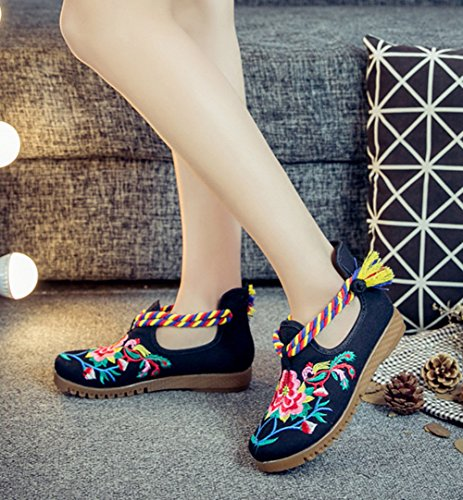 AvaCostume Womens Round Toe Coloured Ribbon Embroidery Walking Shoes Black VvVniKZymy