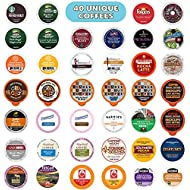 Coffee Pods Variety Pack Sampler, Assorted Single Serve Coffee for Keurig K Cups Coffee Makers, 40 Unique Cups - No Duplicates