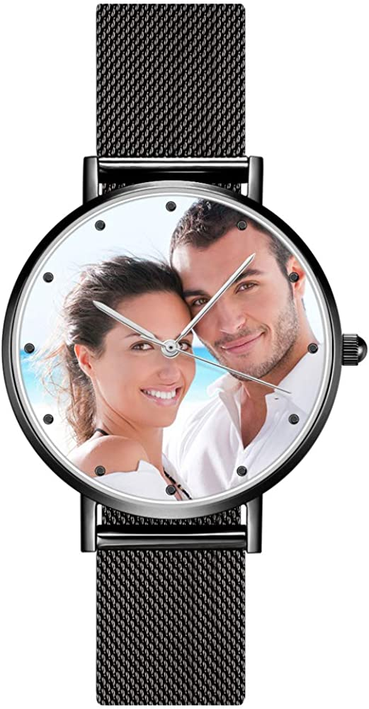 SOUFEEL Reloj Analógico Personalizados con Foto Grabar Texto Reloj Cuarzo Ultra Delgada Plata Regalo Dia de Madre